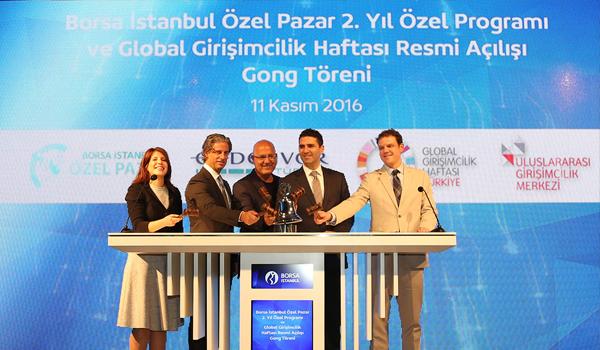 Borsa İstanbul'da Gong, Özel Pazar'ın 2. yılı ve Global Girişimcilik Haftası için çaldı