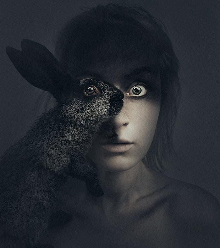 Hayvanlarla bütünleşen yüz