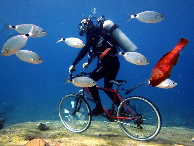 Deniz dibinde bisiklet turu