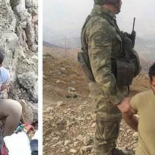 Yaralı ele geçirilen PKK'lıya su veren asker