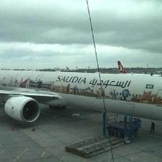 Suudi uçağında dikkat çeken Kabe fotoğrafları