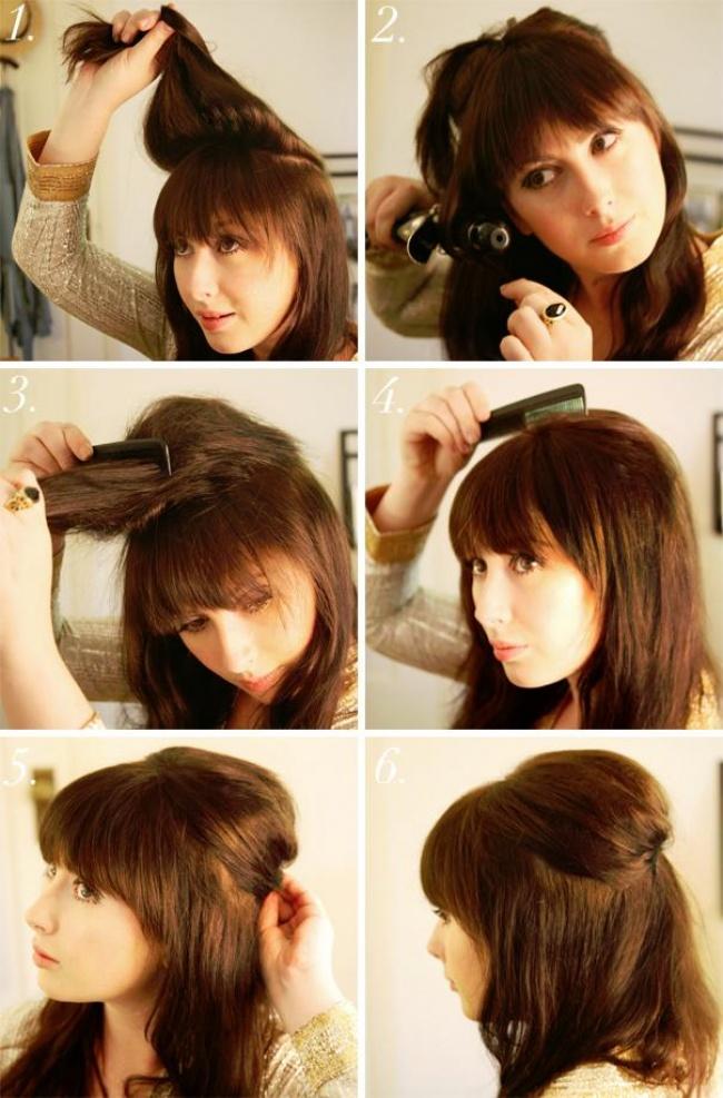 Прическа на средние волосы своими руками из валика