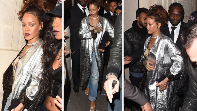 Rihanna, gümüş rengi ceketiyle büyüledi!