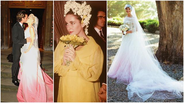 Düğününde renkli gelinlik giyen ünlüler