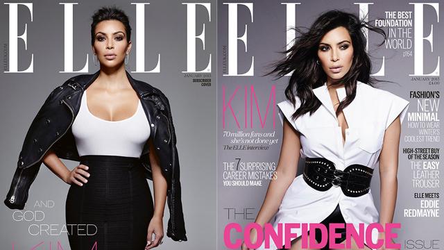 Kim Kardashian Elle'e poz verdi
