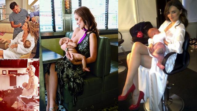 Emzirirken poz veren ünlü anneler