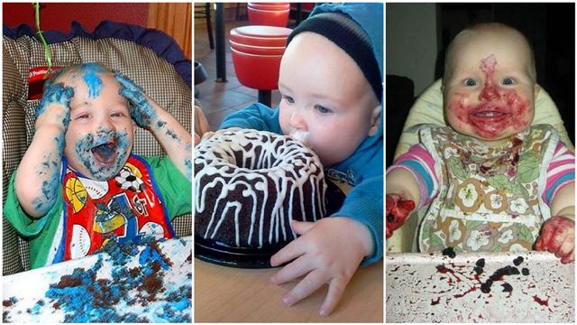 Bebeklerin pastayla imtihanı