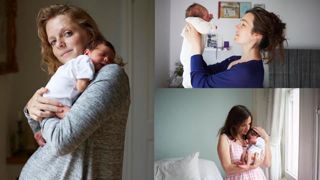 Bir günlük bebekleriyle poz verdiler!