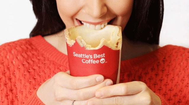 Çimen kokulu, beyaz çikolata tadında yenilebilir kahve bardağı