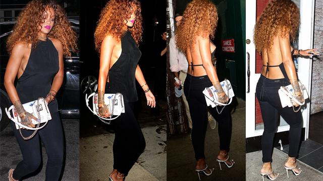 Rihanna bu sefer sırt dekoltesiyle büyüledi