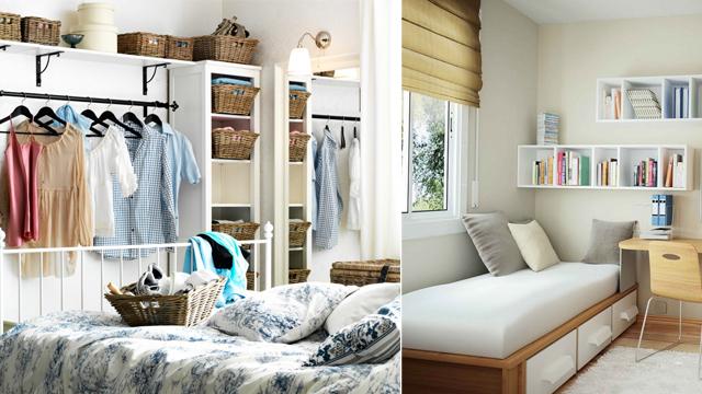 Küçük yatak odaları için akıllı fikirler