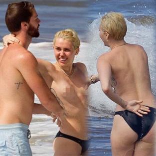 Miley Cyrus ve Patrick'in plajda bir günü