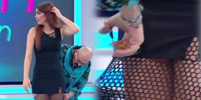 Cemil İpekçi yarışmacının eteğini kesti